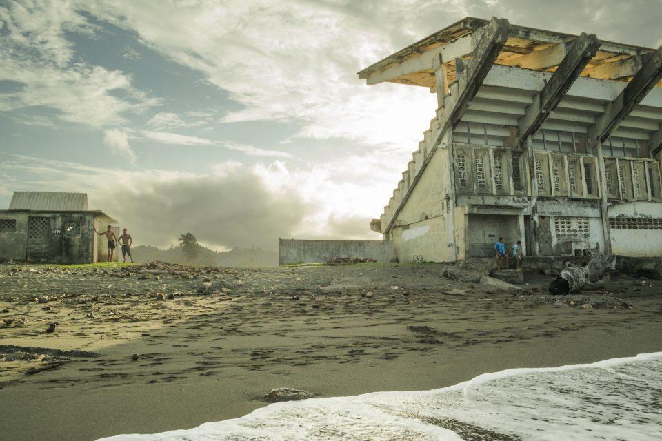 A stadium by the beach in Baracoa, Cuba